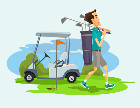 caddie: Golfer man character playing golf.  flat cartoon illustration