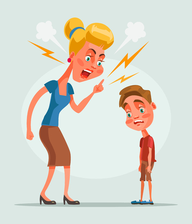 Mother character scolds son character. flat cartoon illustration