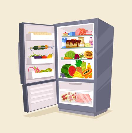 Réfrigérateur pleine de nourriture savoureuse. illustration plat de bande dessinée Vecteurs