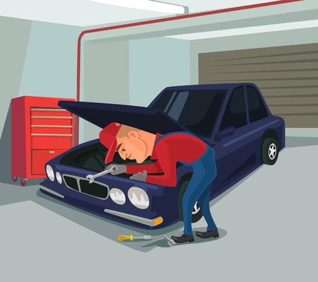 workshop: Car repairs. Worker character doing repair. Vector flat cartoon illustration