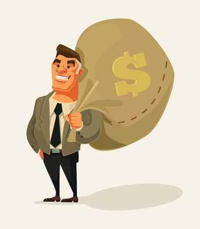 Gelukkige rijke zakenman karakter houden grote zak geld. platte cartoon illustratie
