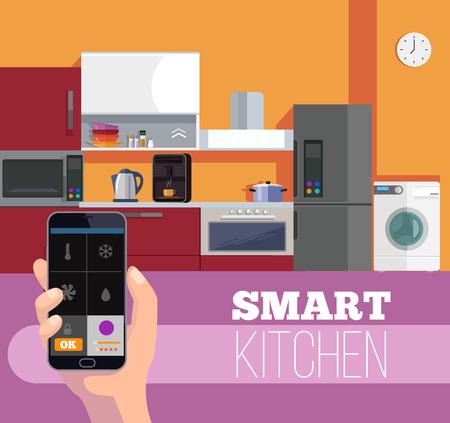 スマート キッチン。スマート フォンを手に保持します。ベクトル フラット漫画イラスト