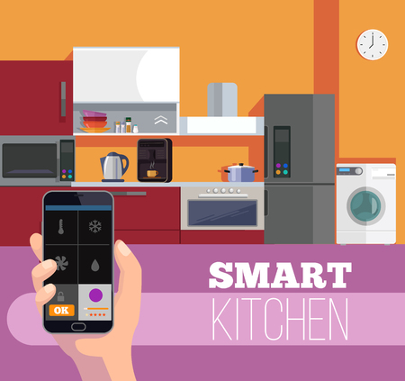 assisted: Smart kitchen. Hand hold smartphone. Vector flat cartoon illustration