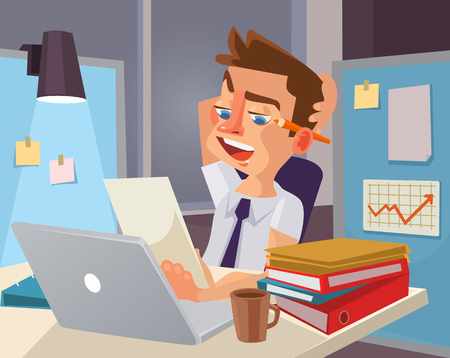 tired worker: Hard work. Tired office worker character. flat cartoon illustration
