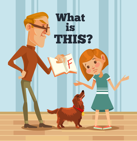 Vater Charakter schimpft Tochter Charakter für schlechte Note. Schlechter Schüler. Vector flache Karikatur Illustration