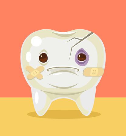 아픈 깨진 된 치아 문자입니다. 벡터 플랫 만화 일러스트 레이션