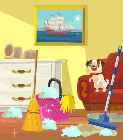 Cleaning banner. Living room. Vector flat cartoon illustration