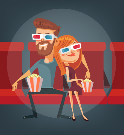 corne: Couple watching movie. Man and woman characters. Vector flat cartoon illustration