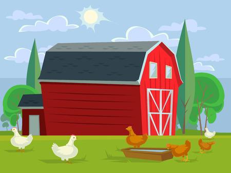 Farm house field and chicken. Vector flat cartoon illustration Illustration