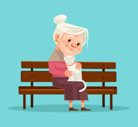 Old woman character hold cat character sitting on bench. Vector flat cartoon illustration