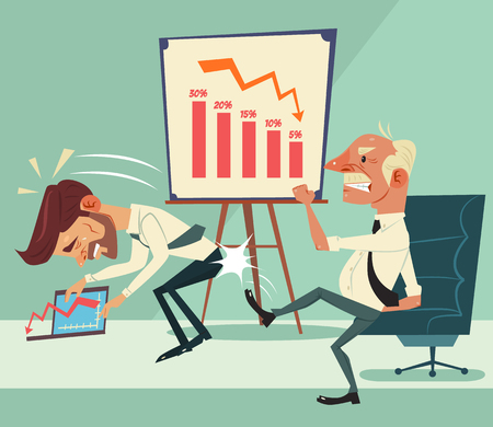 Angry boss character kick worker character ass. Financial crisis. Graph down. Vector flat cartoon illustration