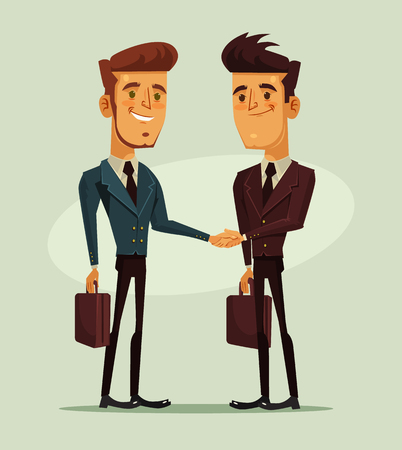 Two businessmen characters shaking hands. Business financial success. Vector flat cartoon illustration