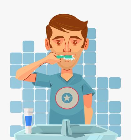 wash hand stand: Man character brushing teeth at morning. Vector flat cartoon illustration Illustration
