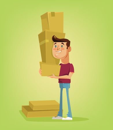 package deliverer: Man character hold a lot of boxes. Vector flat cartoon illustration