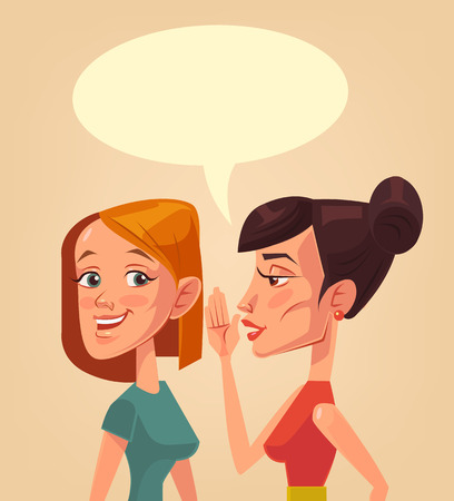 Two girls characters gossiping. Speech bubble. Two girls telling secret to each other. Vector flat cartoon illustration