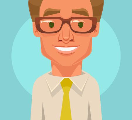 happy office: Happy office worker businessman character smile. Vector flat cartoon illustration Illustration