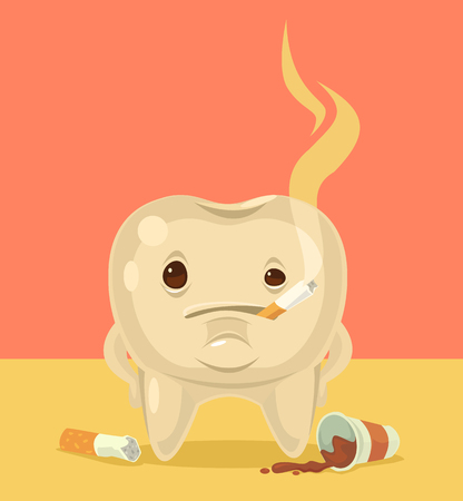 Smoking tooth character. Vector flat cartoon illustration
