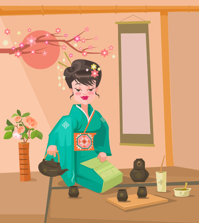 chinese ethnicity: Tea ceremony. Japanese woman character preparing tea. Vector flat cartoon illustration Illustration