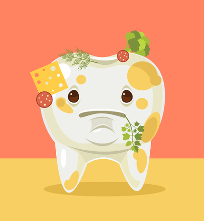 face treatment: Dirty tooth character with food. Vector flat cartoon illustration Illustration