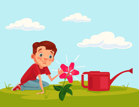 Little boy child character grow flower plant. Vector flat cartoon illustration