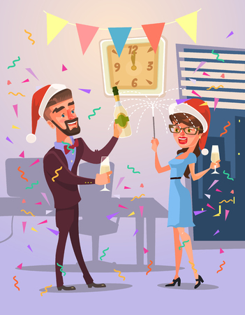 celebrate year: Business people characters celebrate merry christmas and happy new year. Vector flat cartoon illustration