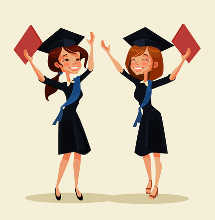 egresado: Girl students characters celebrate graduation. Vector flat cartoon illustration