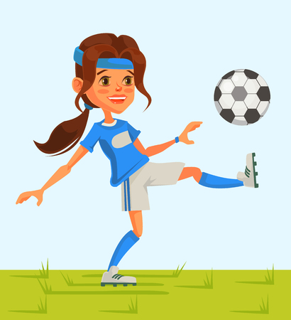 Little girl soccer character play football. Vector flat cartoon illustration