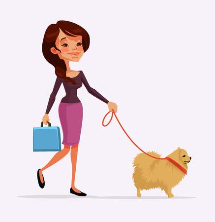 spitz: Girl character walking with dog character. Vector flat cartoon illustration Illustration