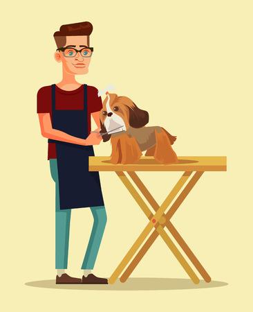 groomer: Groomer character combs dog character. Vector flat cartoon illustration Illustration