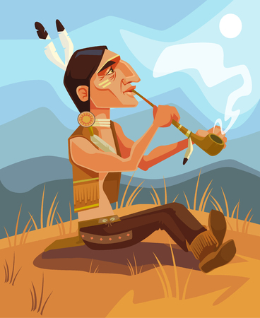 Indian shaman chief character smoking pipe of peace. Vector flat cartoon illustration Illustration