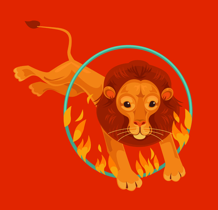 Circus lion character jumping through fire ring. Vector flat cartoon illustration