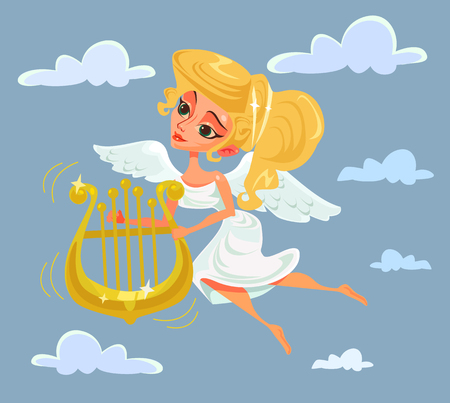 classical mythology character: Greek muse character playing harp. Vector flat cartoon illustration Illustration