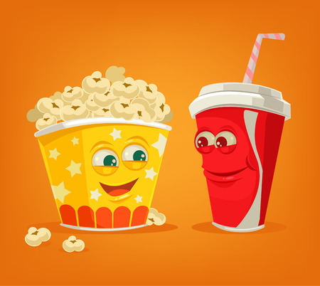 corne: Popcorn and soda characters best friends. Vector flat cartoon illustration Illustration