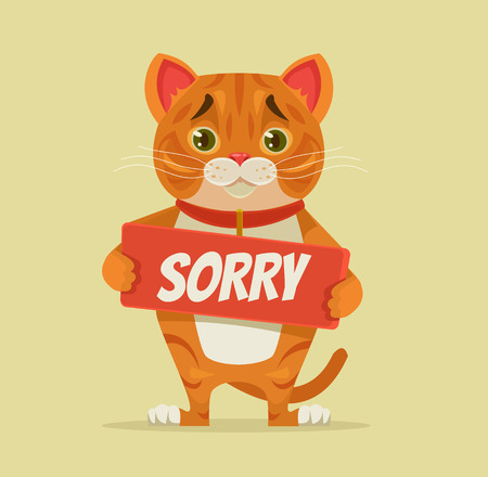 Sorry cat character hold apology plate. Vector flat cartoon illustration