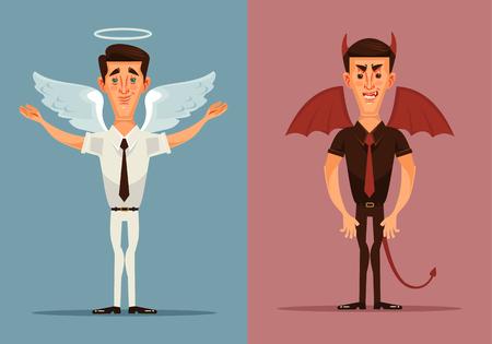 Ángel y demonio del carácter del hombre. Vector ilustración de dibujos animados plana