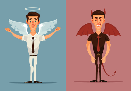 Angel and devil man character. Vector flat cartoon illustration