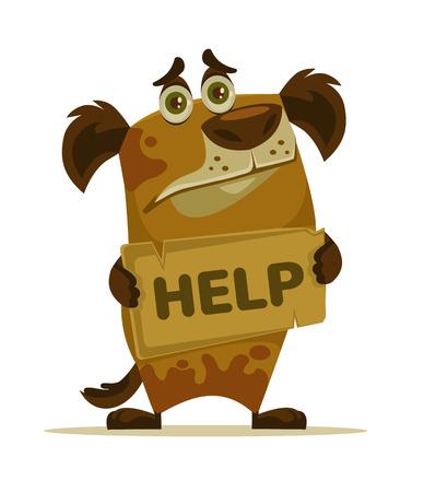 mongrel: Dog character need home and help. Vector flat cartoon illustration Illustration