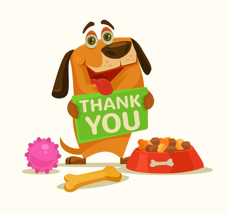 grateful: Happy dog ??character hold plate with thank you words. Vector flat cartoon illustration
