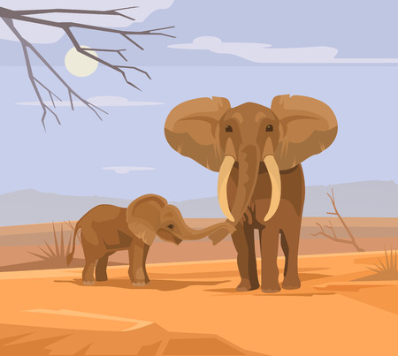 Two elephants characters in Africa. Vector flat cartoon illustration Illustration