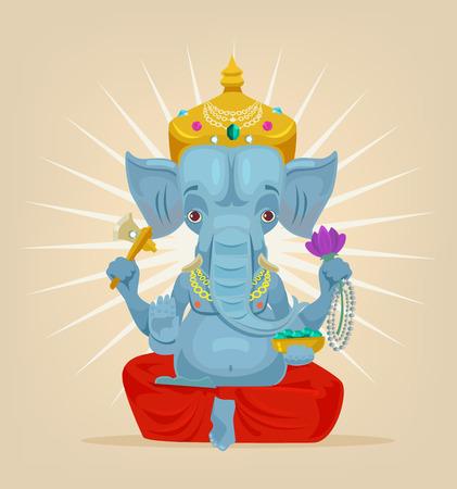 Señor Ganesh carácter elefante. Vector ilustración de dibujos animados plana