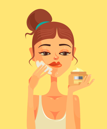 Woman character smear face cream. Vector flat cartoon illustration Illustration