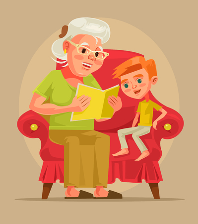 tell stories: Grandmother character sit with grandson and read book story. Vector flat cartoon illustration