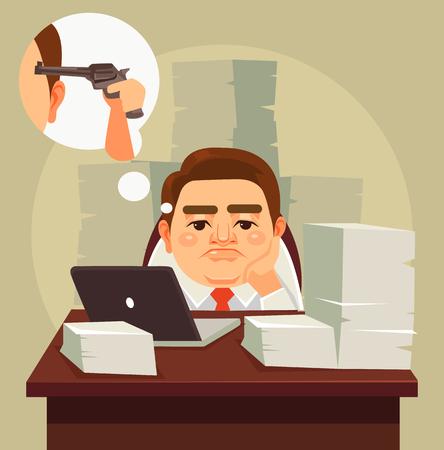 El trabajo duro cansado perezoso carácter del hombre trabajador de oficina. Vector ilustración de dibujos animados plana