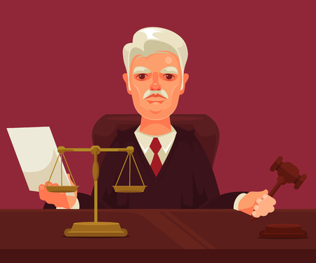 arbitrate: Strict judge man character. Vector flat cartoon illustration