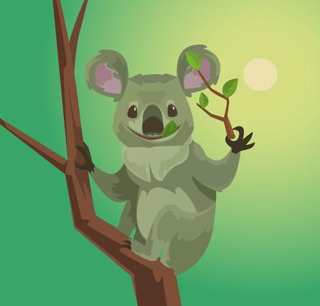 eucalyptus: Cute koala character eating eucalyptus leaves. Vector flat cartoon illustration