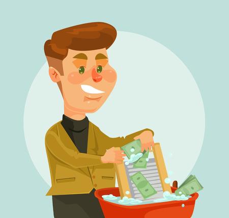 El hombre de negocios de carácter ladrón lavar dinero. Vector ilustración de dibujos animados plana