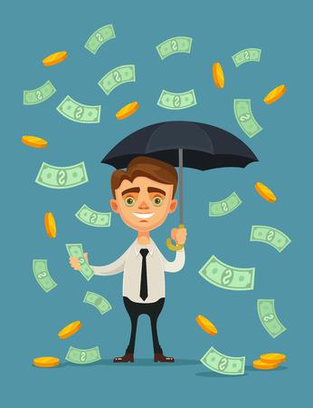 money rain: Office worker character hold umbrella and standing under money rain. Vector flat cartoon illustration Illustration
