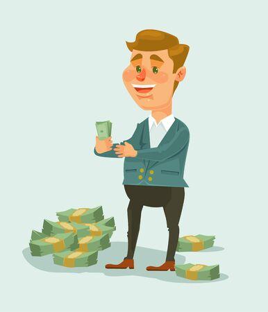 Wealthy businessman character counts money. Vector flat cartoon illustration