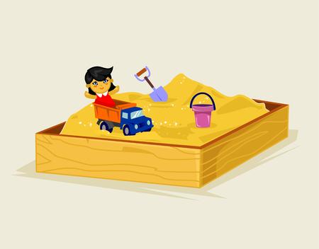 sandbox: Sandbox image. Vector flat cartoon illustration