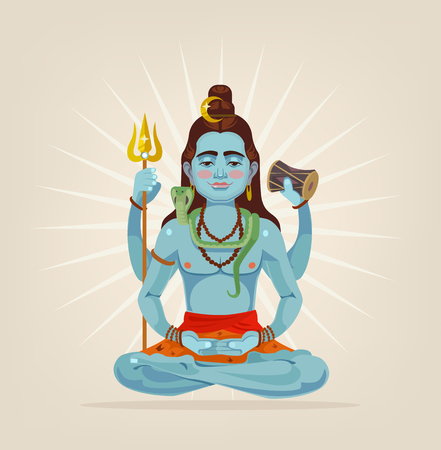 God Shiva character sitting in lotus position. Vector flat cartoon illustration Illustration